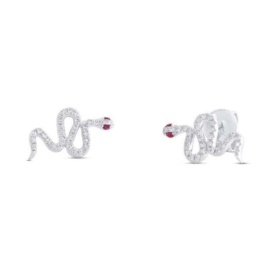 14K White Gold Snake Diamond + Ruby Stud Earring