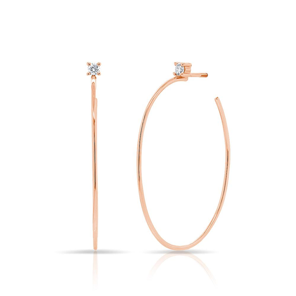 14K Yellow Gold Solitaire Diamond Oval Hoop Earrings