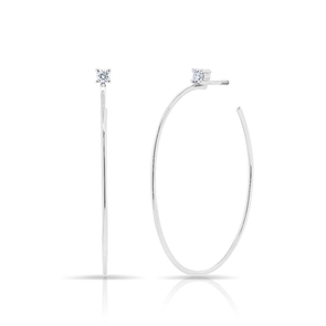 Solitaire Diamond Oval Hoop Earrings