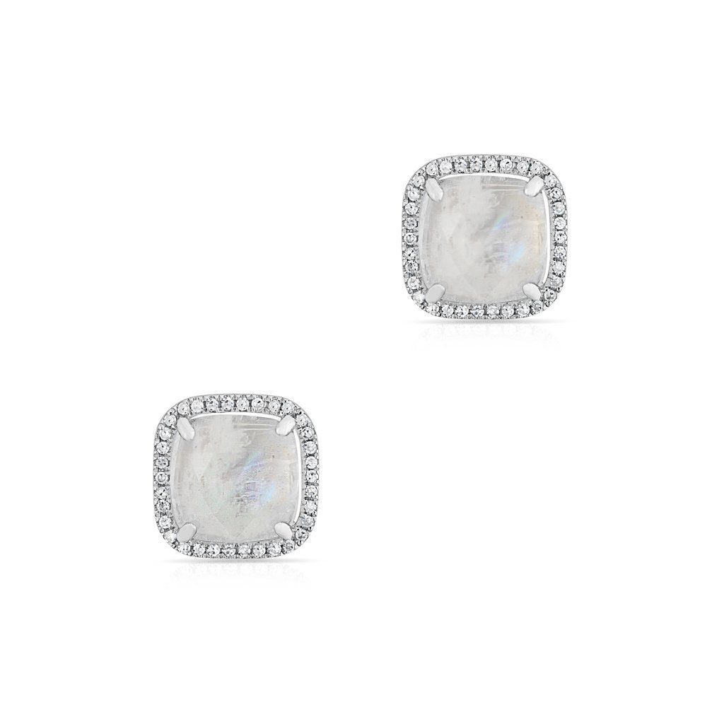 Square Moonstone Stud Earrings