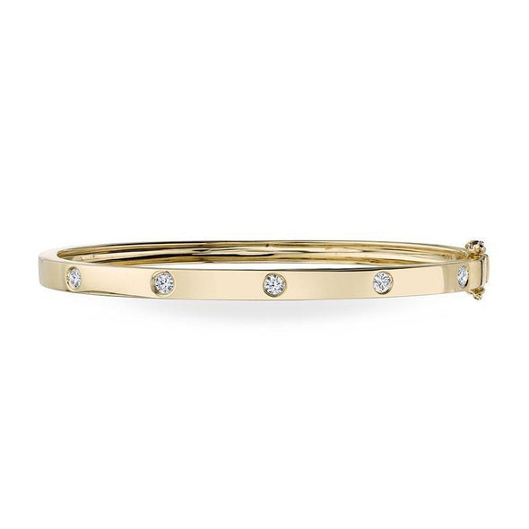 14K Yellow Gold Stackable Polished Diamond Bangle