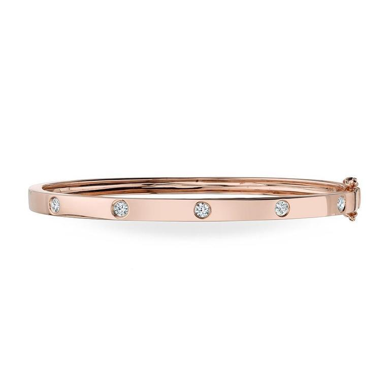 Stackable Polished Diamond Bangle