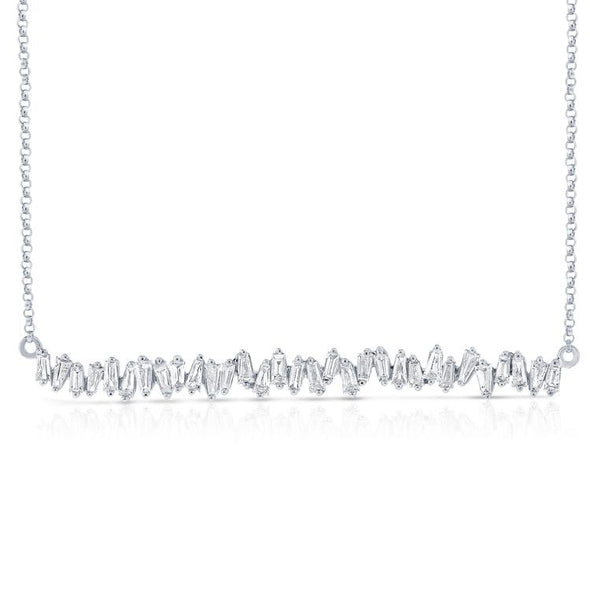 Staggered Baguette Diamond Bar Necklace
