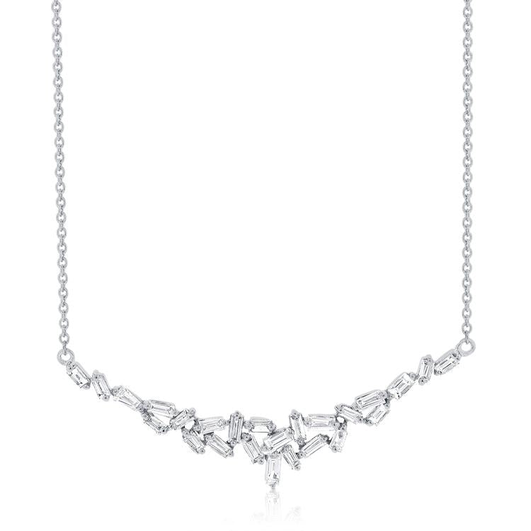 Staggered Baguette Diamond Necklace