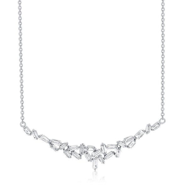 14K White Gold Staggered Baguette Diamond Necklace