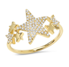 14K Yellow Gold Diamond Star Constellation Ring
