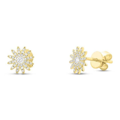 14K Yellow Gold Sunburst Stud Earrings