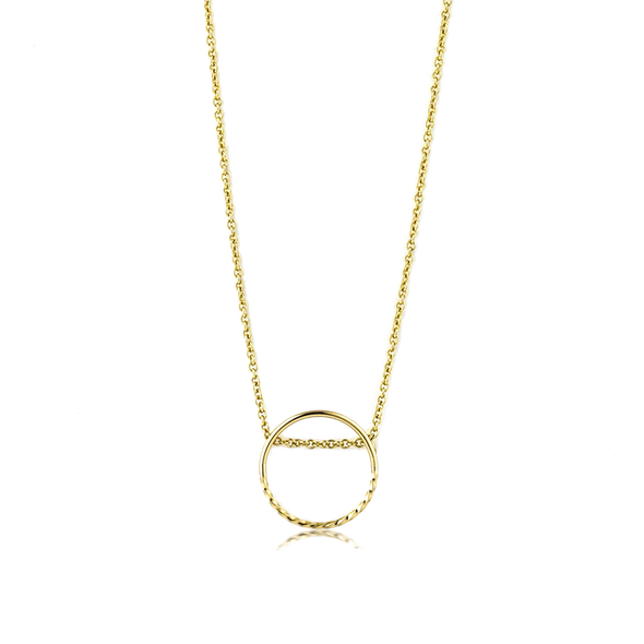 Texture Mix Chain Circle Necklace