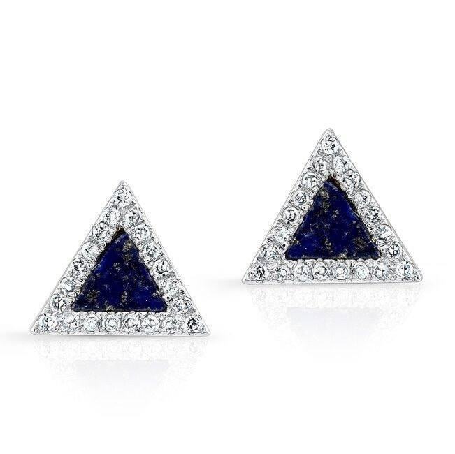 Triangle Lapis Stud Earrings