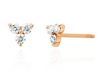 Rose Gold 14K Triple Diamond Triangle Stud Earrings