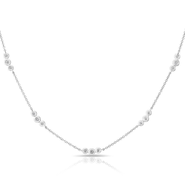 14K White Gold Triple Diamond By The Yard Necklace