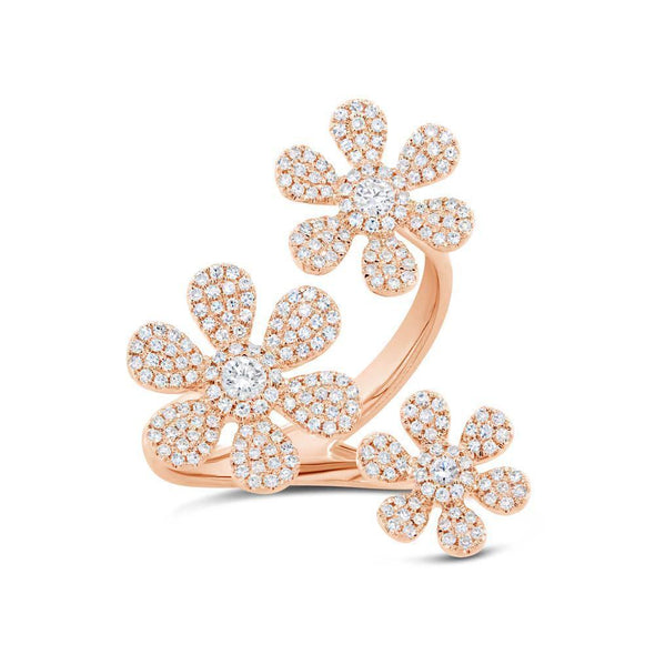 14K Yellow Gold Triple Floating Diamond Flower Ring