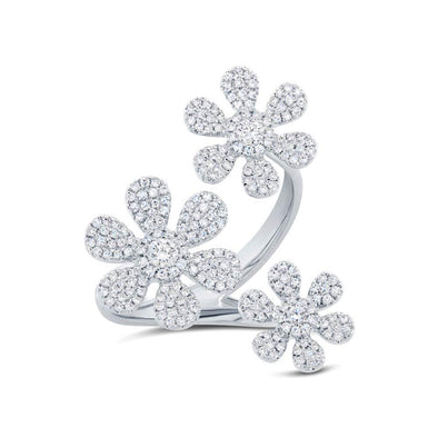 14K White Gold Triple Floating Diamond Flower Ring