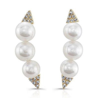 14K White Gold Triple Pearl Ear Climbers (Right Ear)