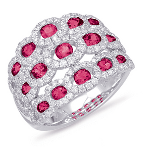 14K White Gold Triple Row Ruby Fashion Ring