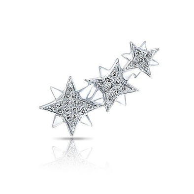 14K White Gold Triple Star Ear Climber