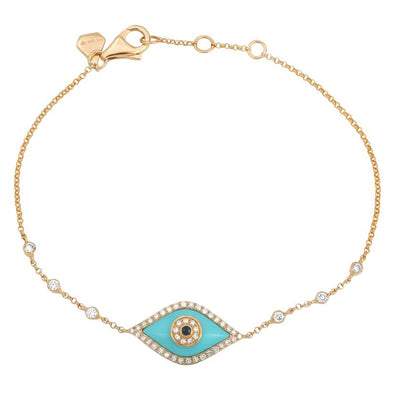 14K Yellow Gold Turquoise Evil Eye Blue Sapphire Gemstone Bracelet