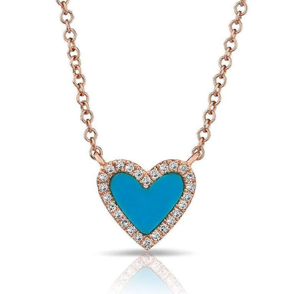 14K Yellow Gold Turquoise Heart Necklace
