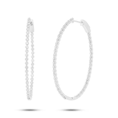 White Gold 14K Two Prong Diamond Inside & Outside Oval Hoop Earrings