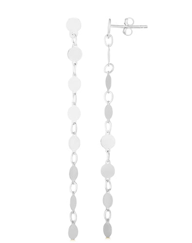 14k White Yellow Polished Pebble Drop Earrings