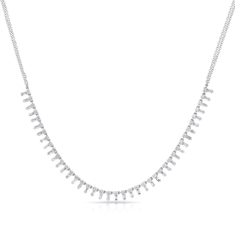 "White Gold ""Queen"" Baguette Diamond Necklace"