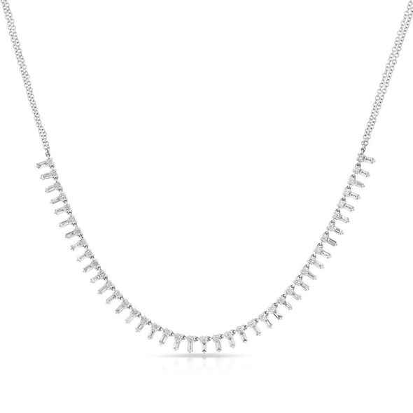 "14K White Gold ""Queen"" Baguette Diamond Necklace"