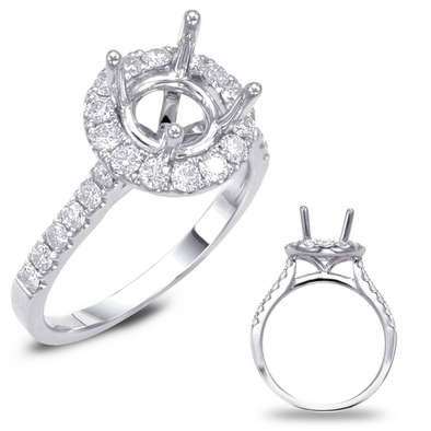 14K White Gold Round Diamond Halo Mounting