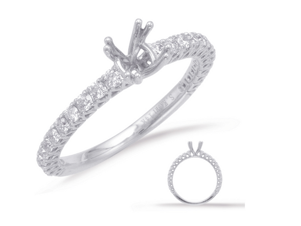 14K White Gold Round Diamond Semi-Mount Ring