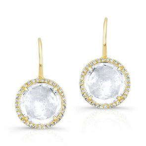 White Topaz Diamond Halo Earrings