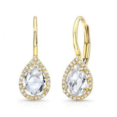 White Topaz Pear Shaped Earrings
