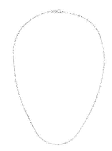 14k White Gold 1.5mm Polished Paperclip Chain Necklace