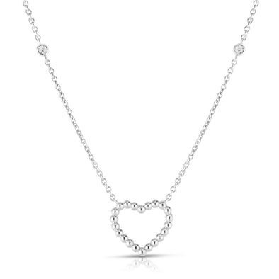 14K White Gold Beaded Heart Diamonds by the Yard Necklace