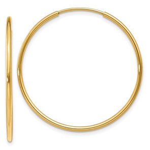14K Yellow Gold Endless Hoop Earring