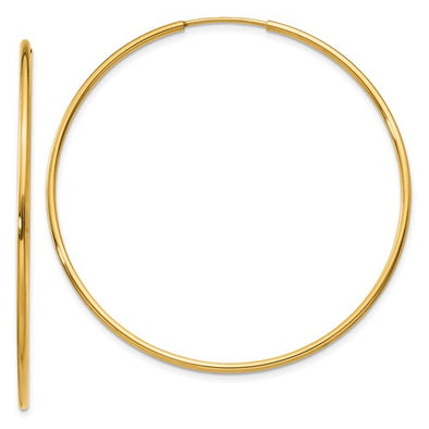 14k Yellow Gold 45MM Endless Hoop Earrings