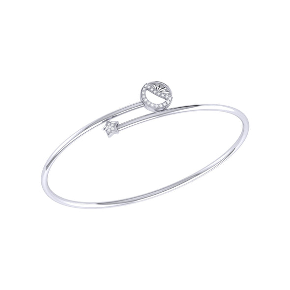 Half Moon Star Bangle in Sterling Silver