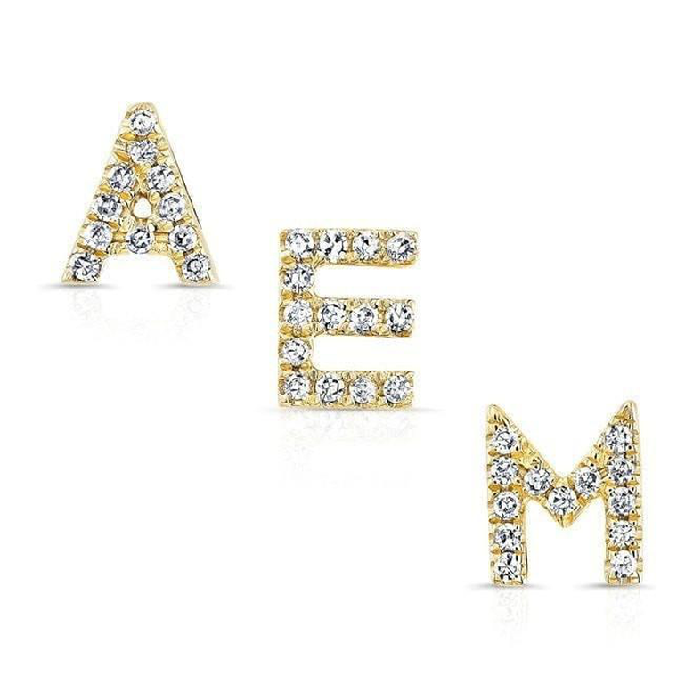 Yellow Gold Diamond Initial Stud Earring