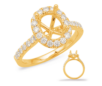 14K Yellow Gold Diamond Oval Halo Mounting