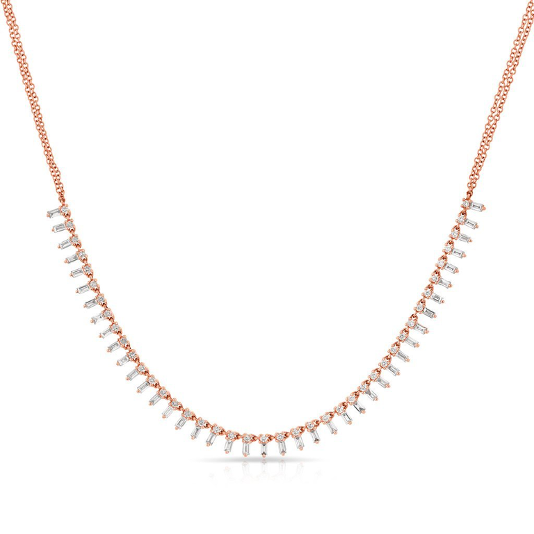 "Yellow Gold ""Queen"" Baguette Diamond Necklace"
