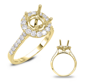 14K Yellow Gold Round Diamond Halo Mounting
