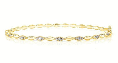 14K Yellow Gold Diamond Beaded Bangle