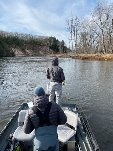 spey casting out of a boat on the manistee