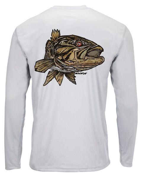 Simms Solar Tech Long-Sleeved Tee Smallie Sterling Back