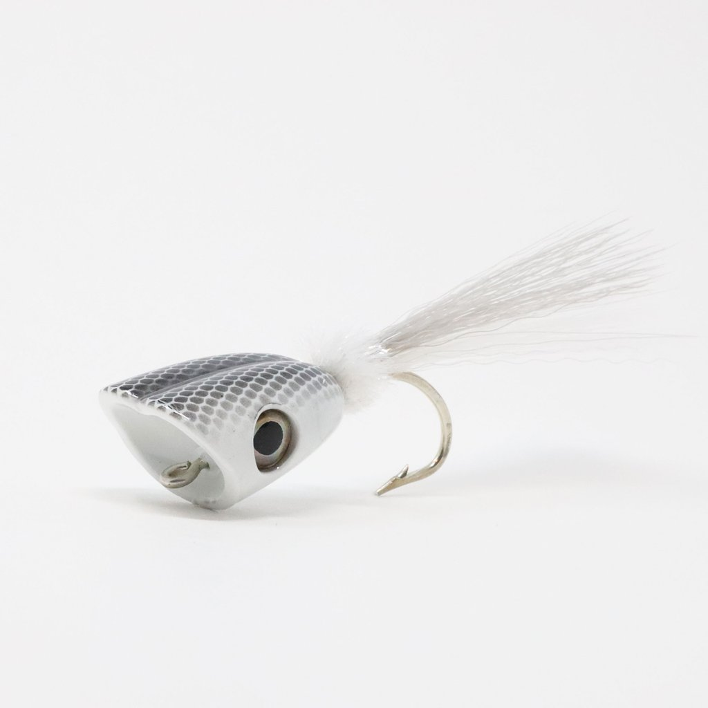 Double Barrel Baitfish Popper Fly White