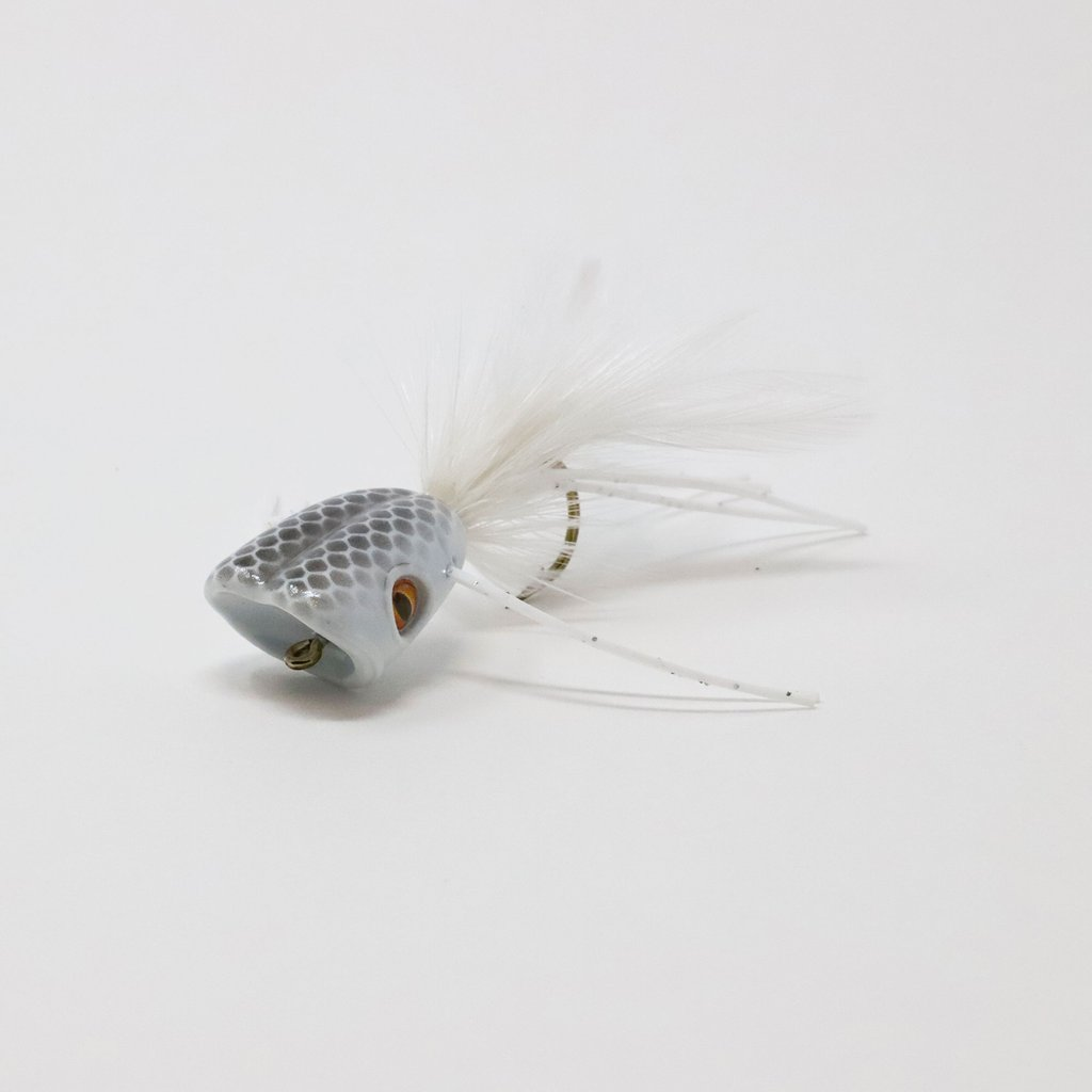 Double Barrel Bass Bug Popper Fly White