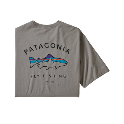 Patagonia Framed Fitz Roy Trout Organic T Shirt Feather Grey