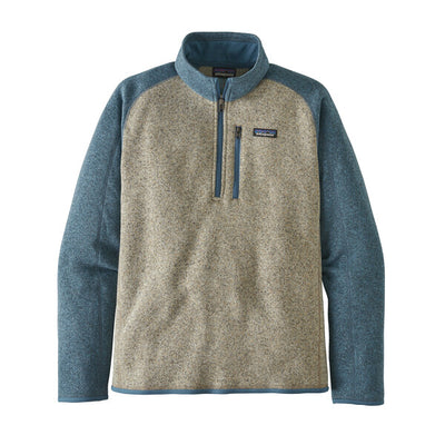 Patagonia Better Sweater 1/4 Zip Bleached Stone With Pigeon Blue