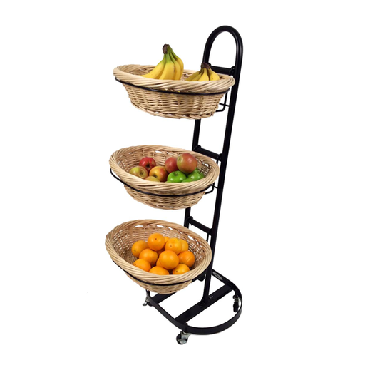 F3WB - Fruits/Snacks 3-Tier Wicker Basket Merchandiser