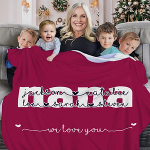 Personalized Fleece Blanket with Your Nick & Kids' Names