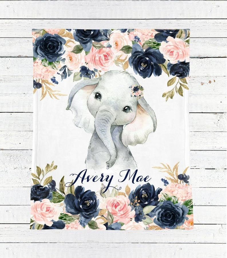 Custom Cozy Plush Children's Fleece Blanket Watercolor Elephant