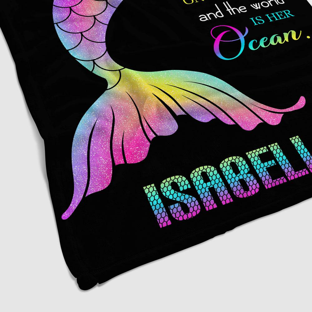 Personalized Name Rainbow Mermaid Tail Fleece Blanket